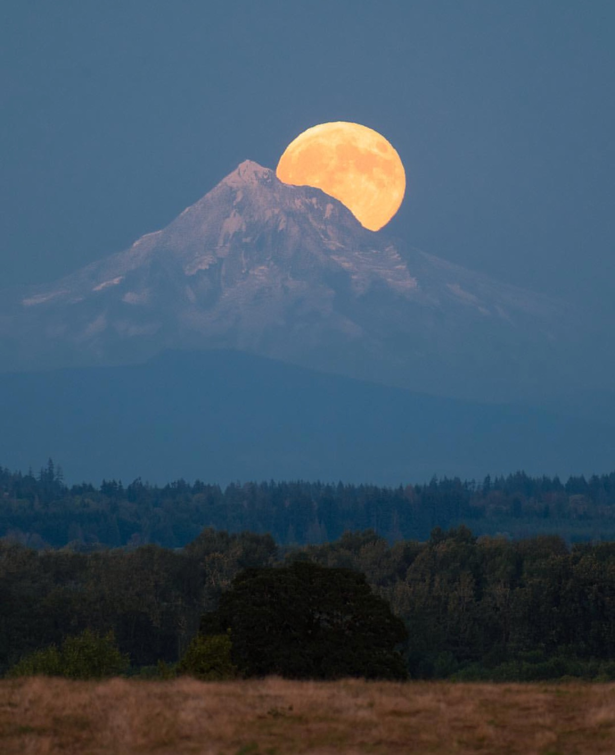 Moon over Mt Hood