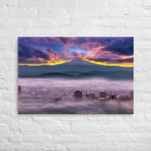 SUNRISE OVER PORTLAND - 24X36 Canvas Wrap Print
