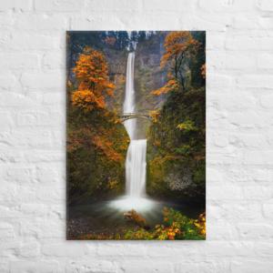 MULTNOMAH FALLS - FALL COLORS - 24X36 Canvas Wrap Print